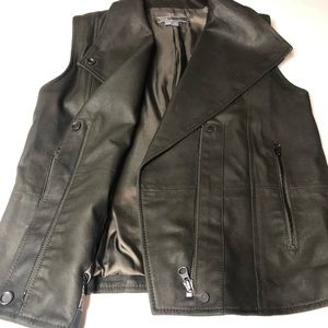 VINCE Military Moto Slate Brown Leather Vest XXS
